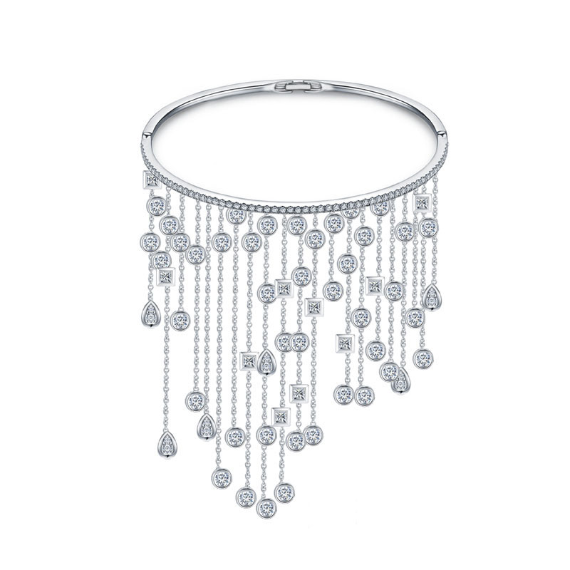 Rhodium Plated Silver Tone Bridal Bracelets Pave Clear CZ Zircon Fashion Ladies Fringe Tassel Charm Bangle