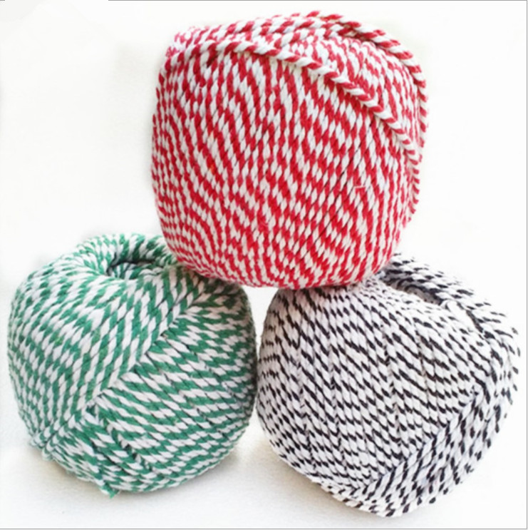 Decorative colorful braided cotton twine rope