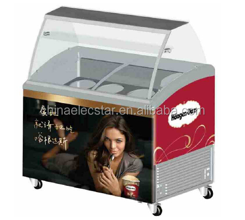 Luxury Ice Cream Refrigerated Showcase and Gelato Display Cabinet, ice cream showcase