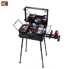 2017 New beauty makeup case with lights mirror and stand & bluetooth music player