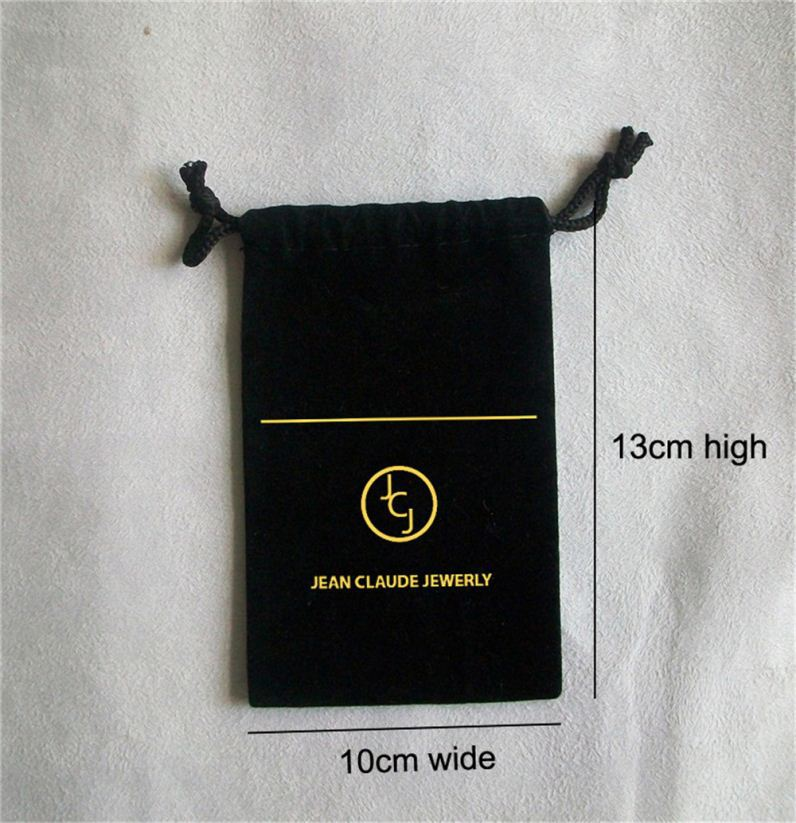 Logo printed promotional draw string velour gift bag velour jewelry pouch with velour rope