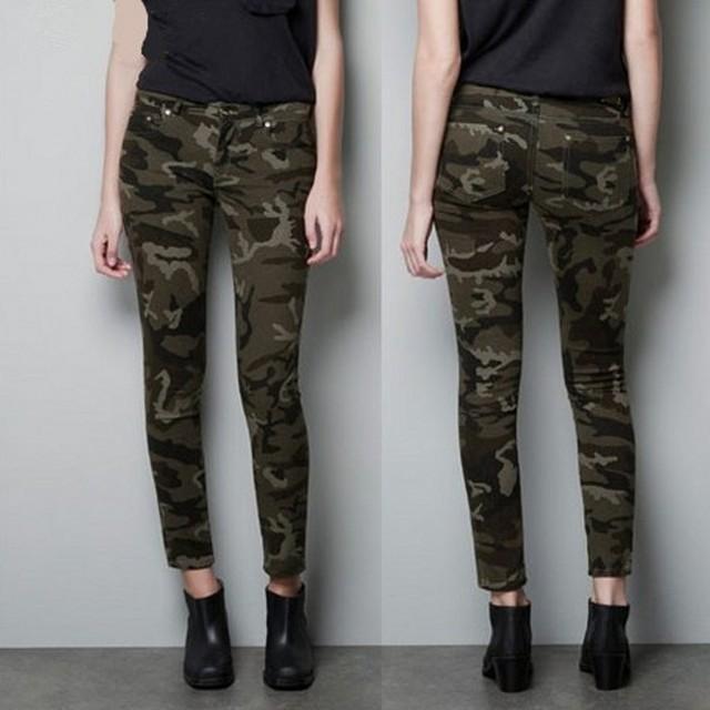 B31013A Europea hot sale women camouflage color cotton elastic tight pencil pants