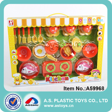 Funny big plastic toy pan mini knife and fork kitchen toy set for girl