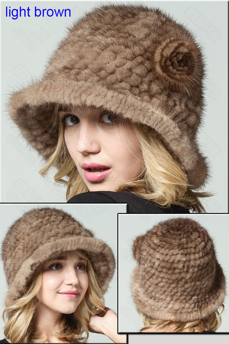 mink fur hat light brown 22