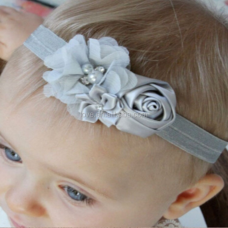 Wholesale hair accessories newborn baby elastic headband with flower