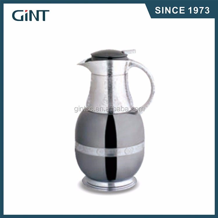 Customized color glass inner arabic coffee pot thermos vacuum flask with glass inside