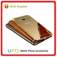 [UPO] Luxury Aluminum 24k Gold Metal Bumper ultra-thin Mirror Cover Case for samsung galaxy A8 a7 j7 j5 s6 edge mirror case