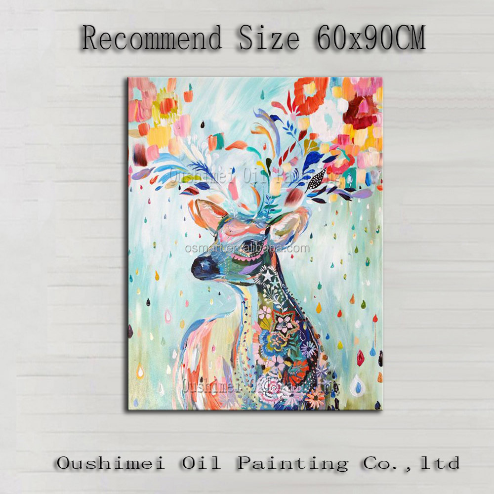 Professional Top Painter Team Supply High Quality Abstract Colorful Deer Oil Painting On Canvas Handmade Beautiful Deer Picture