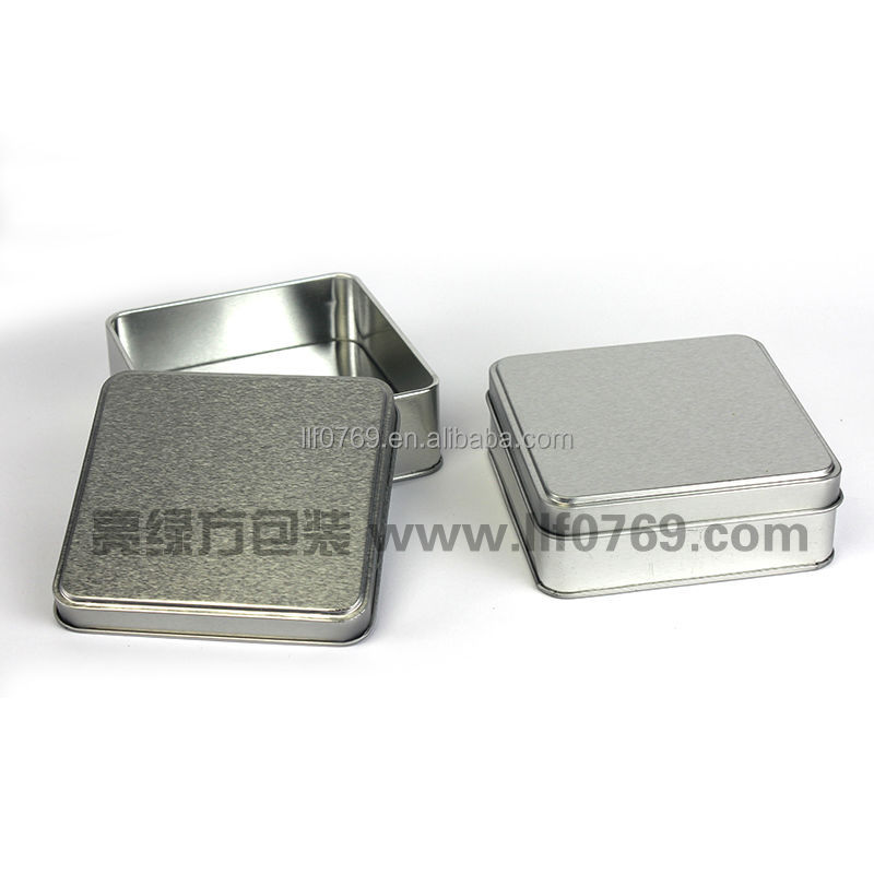 plain silver candy metal tin box