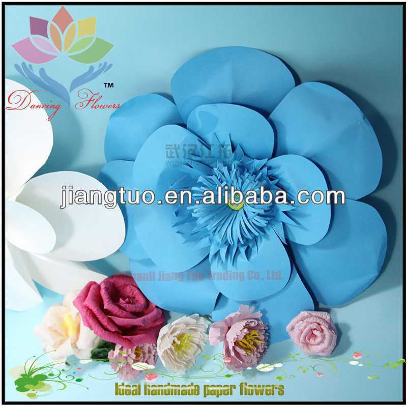 New Fashion Wedding or Party Wholesale Card Paper Poppies Light Blue Big Flower