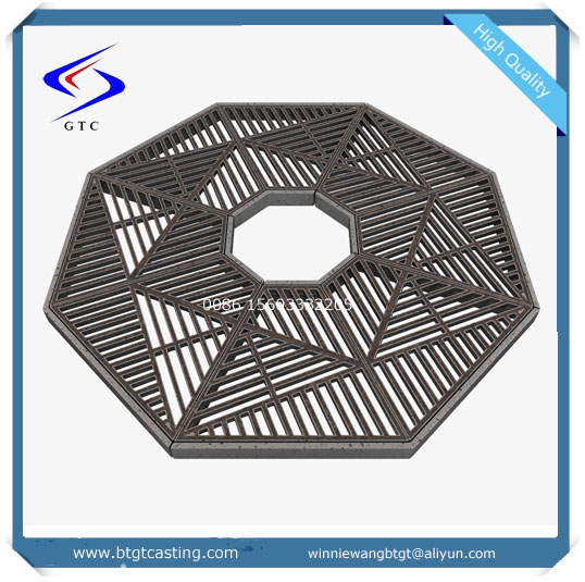 iron foundry EN124 cast ductile iron tree gully grating dimensions
