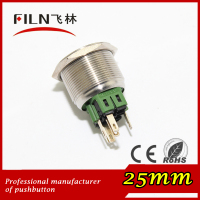 CE ROHS 25mm brass plated nickel flat head red green led push button switch 120v momentary