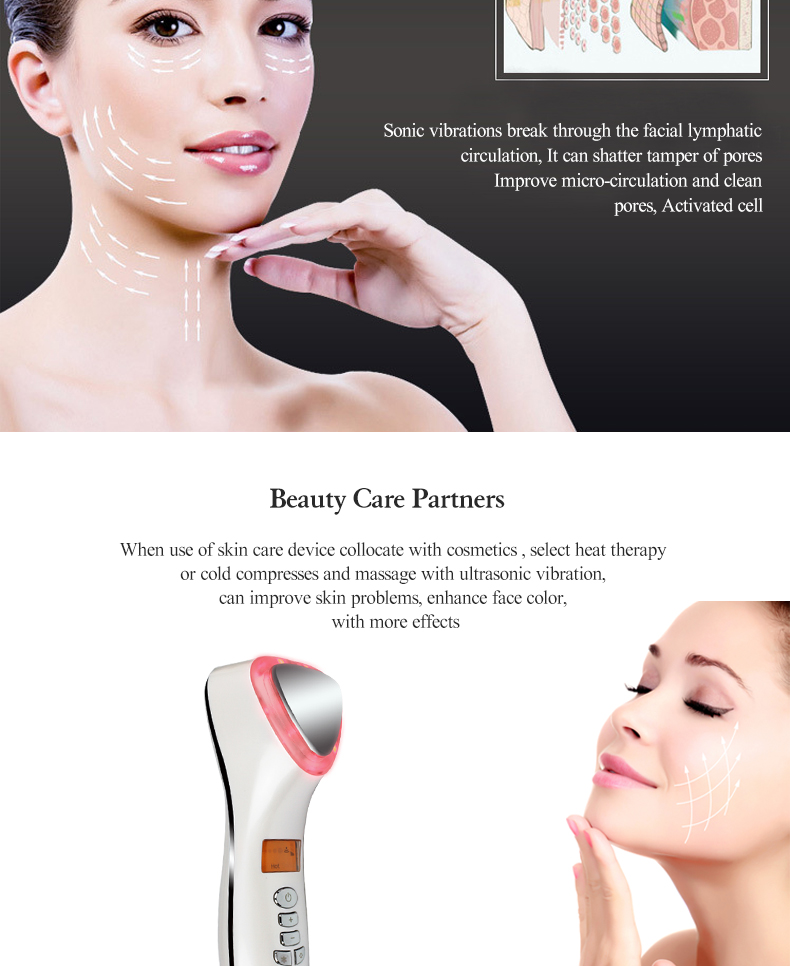 Skin Care Anti-aging lift Tightening Hot And Cold Facial Massager Beauty devices with Ultrasonic led bio blue led lights