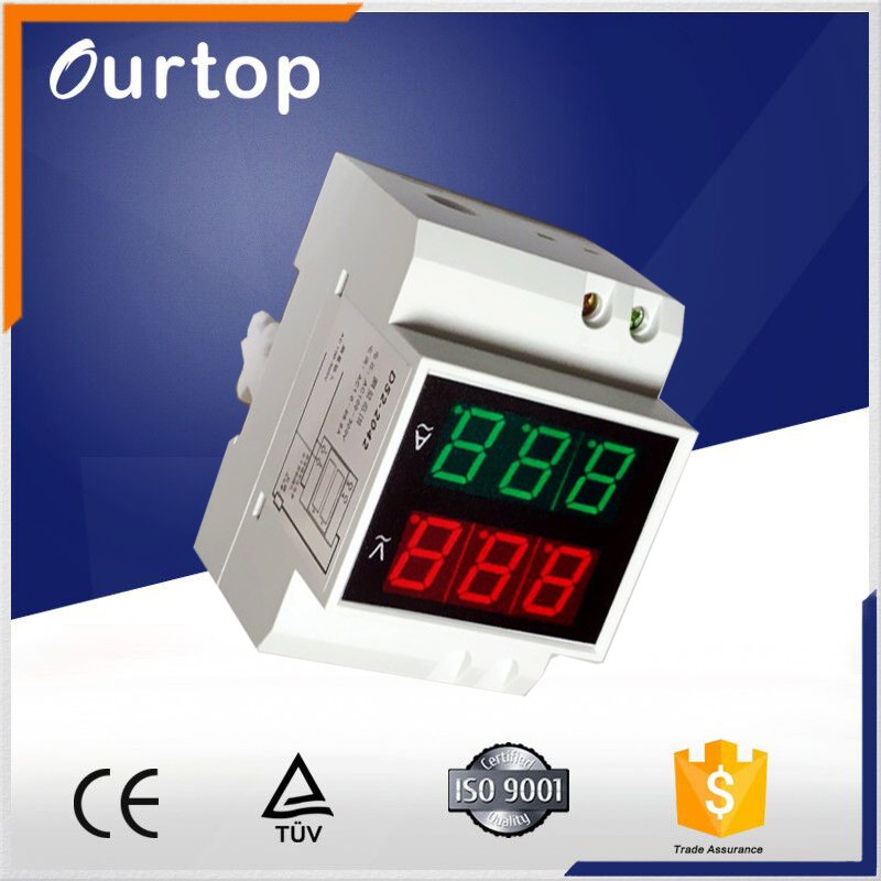 Din-Rail Dual display Digital AC Ampere Voltage combined meter with current transformer D52-2042