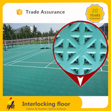 CE Standard interlock modular pp raw materials indoor / outdoor badminton court flooring