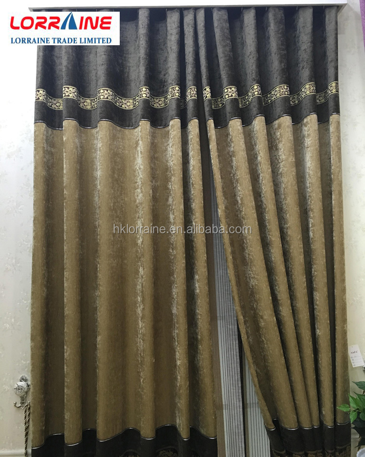 2016 new design hot sale chenille fabric luxury curtain for home hotel hospital