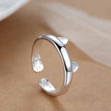 Latest design for women with open cute cat sterling silver ring