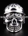 DIAMOND FLAMING HELMET ARMY SOLDIER MILITARY SKULL .925 STERLING SILVER MEN'S RING COLLECTIBLE ACCESSORIES JEWELRY JEWELLERY