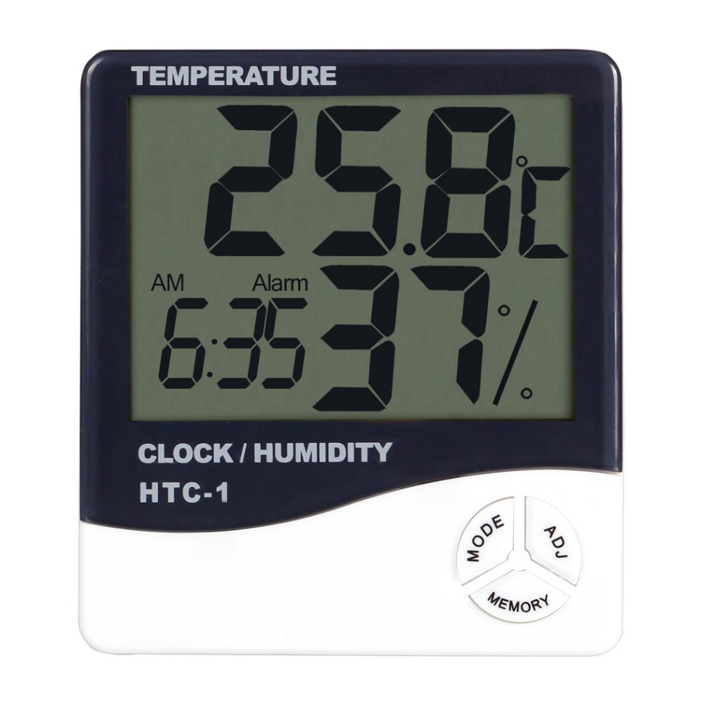 LCD Screen Digital Electronic Household Hygrometer Humidity Temperature Thermometer with Clock