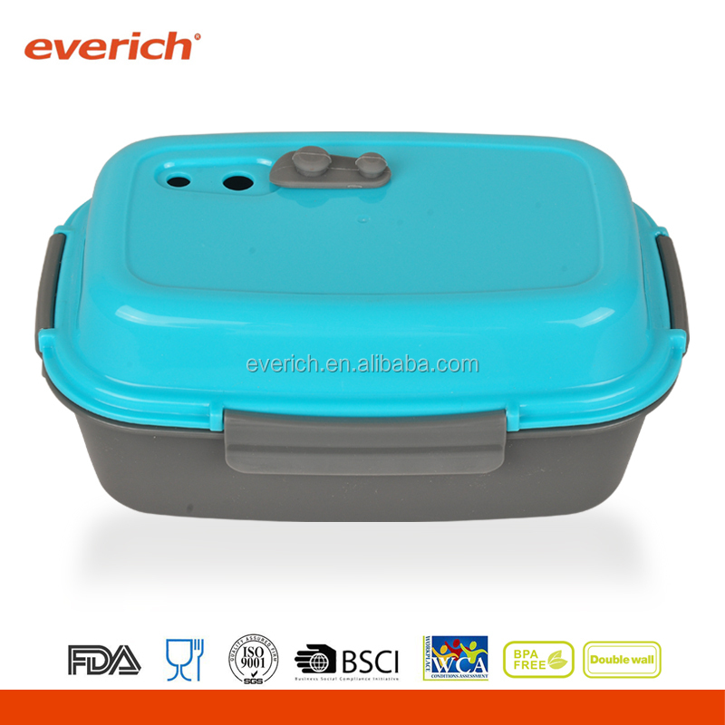 Wholesale 4 compartments high quality PP plastic lunch box with cooler