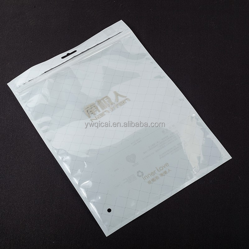 Zip lock logo printing customized plastic laminated packaging clothing resealable poly bag