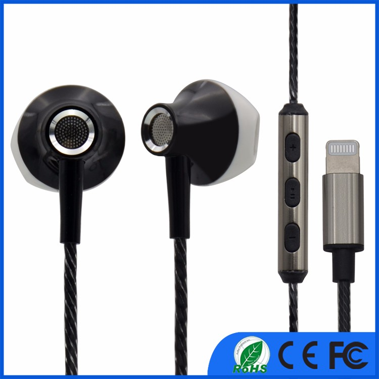 The most newest popular earphone for iphone7 and iphone 7plus metal design ios wired earphone