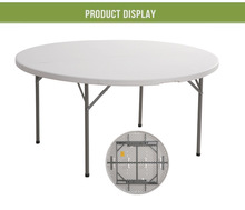 camping aluminum suitcase round HDPE folding plastic table/banquet round folding table