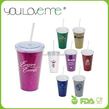 promotional BPA free glitter insert plastic tumbler with straw, acrylic tumbler