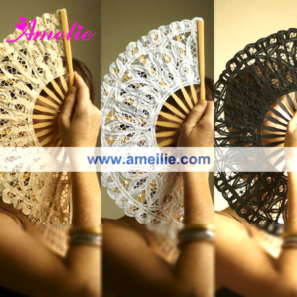 Renaissance Ladies Battenburg Lace Spanish Hand Fan Party Decoration 15cm