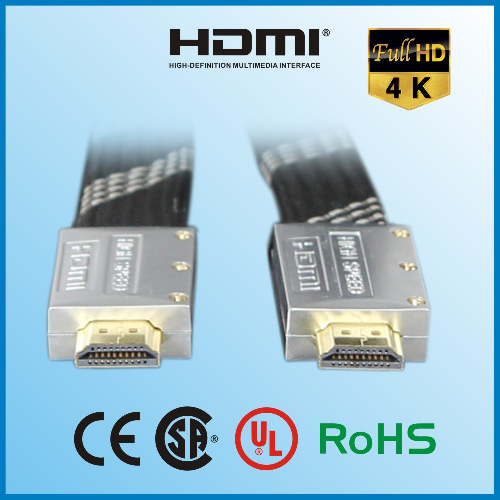 28AWG Premium 24k Gold 1.4 flat HDMI Cable High Speed Metal 4K*2K 3D