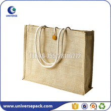 Eco and Natural Jute Tote Shopping Bag With Wood Button