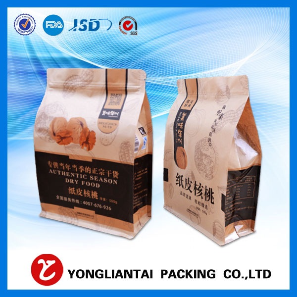 Indesign factory customized machine made quad seal kraft paper bag china