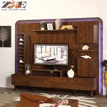 Wooden new model tv cabinet with showcase/living room led tv wall unit designs/wooden tv furniture tv stand pictures