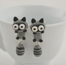 100% Handmade Cute Crey Raccoon Soft Clay Animal Earrings Lovely Jewelry Gift for Girls Woman