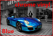 1 Roll Blue 1.52*30M chrome vinyl film Plating car warp sticker