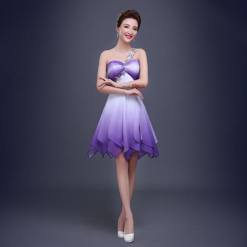 2016 sexy gasa con cuentas vestidos de coctel cortos moda púrpura ...