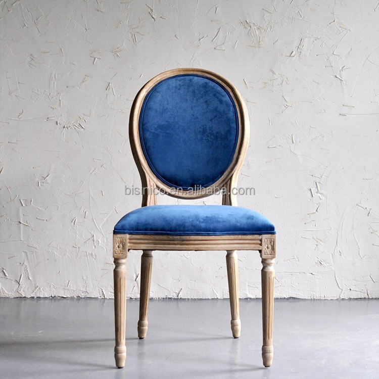French Latest Design New Classic Provincial Wooden Hand Carved Dining Chair/New Classic Blue Velvet Upholstered Side Chair