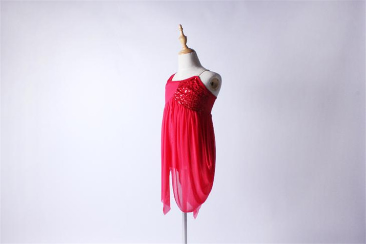 OCT1677 Wholesale Red Color Chiffon Fabric Lyrical Ballet Dance Costume Dress For Girls