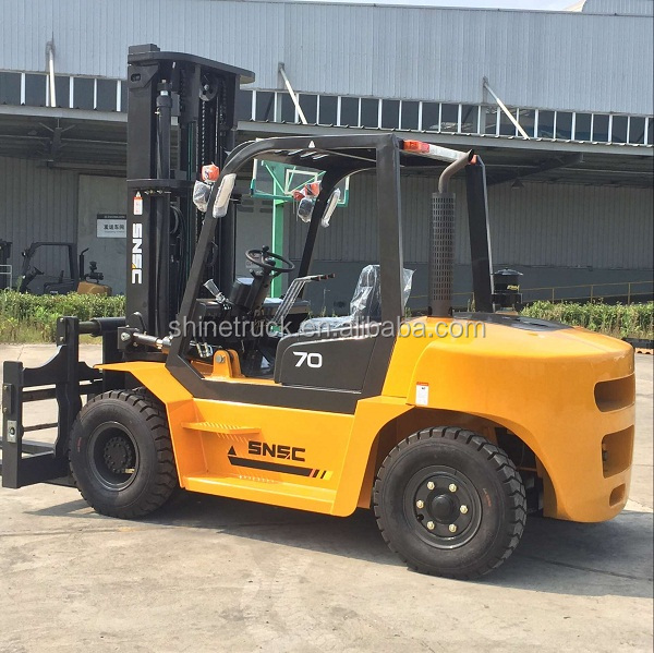 FD70 7000kg capacity 7 ton diesel forklift with 3 stage full free 6m