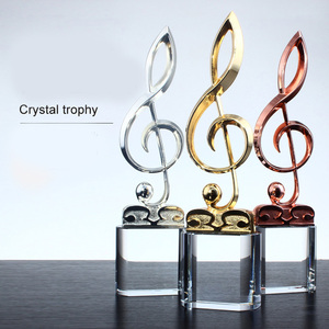 Crystal trophy customized note cup metal microphone cup singing competition creative music award