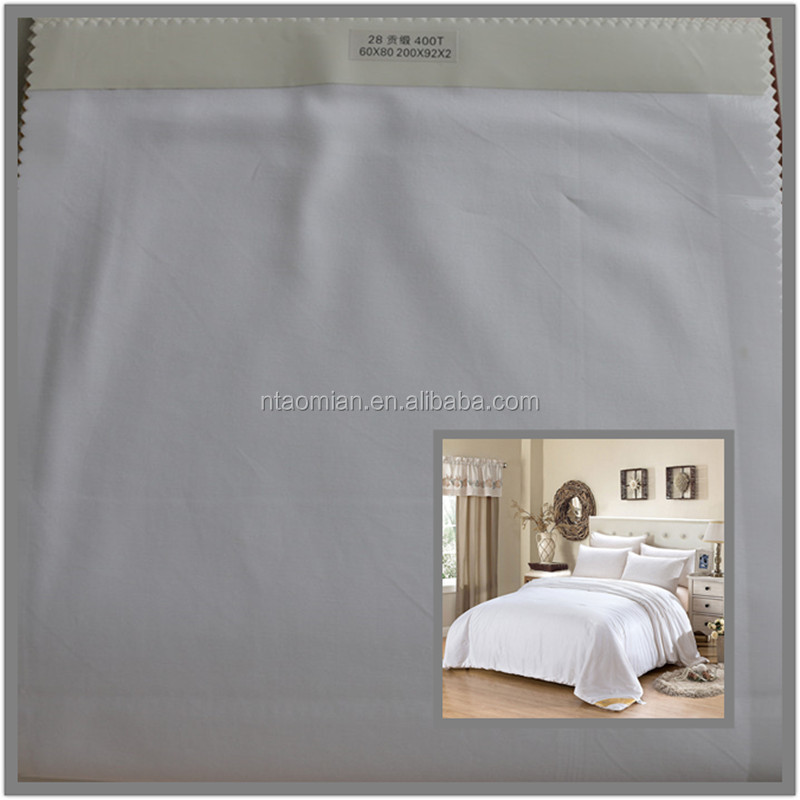 hotel linen bed sheet white fabrics 100% cotton plain / sateen / stripe / jacquard / dobby weave