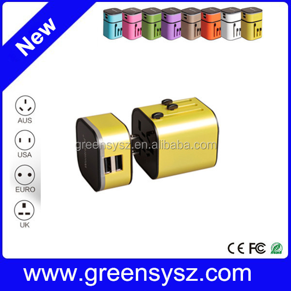 USB world international travel adapter multi plug 2.5A output with dual usb