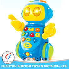 Hot sale battery operated robot boy intelligence toys with music and light