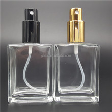 Clear empty glass 20ml 30ml 100ml 50ml empty spray perfume bottles with gold cap