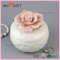 Funny Round Shaped Ceramic Gift Box Jewelry With Rose Flower