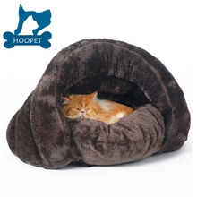 New arrival warm cat sleeping bags pet beds half cover winter nest kitty house cats bed brown