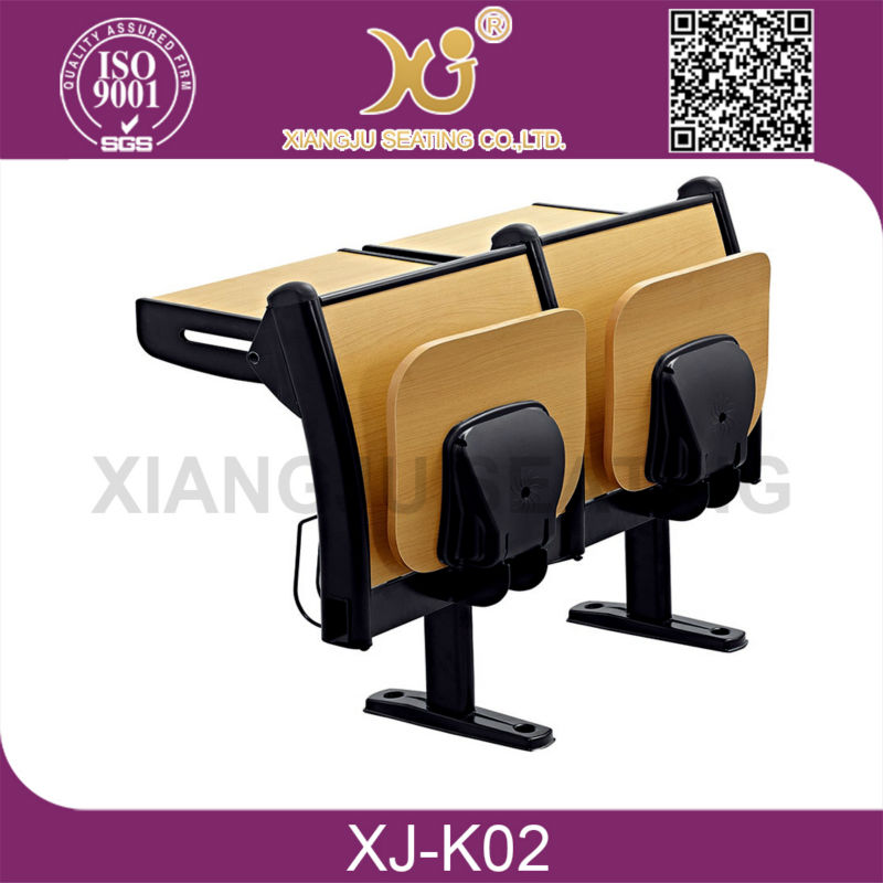 Customized Calssroom Folding Student Desk/ wooden college classroom Step Desk Chair Sets, PE & Wooden Step Chair
