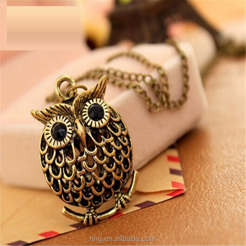 Fashion Delicate Cute Owl Small Pendant Long Chain Necklace Women's Trendy Sweater Decoration Accessory