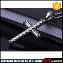 wholesale men fashion thread style cross pendant necklace, metal ball chain necklace with pendant