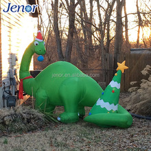 Christmas ornament inflatable green dragon with red hat